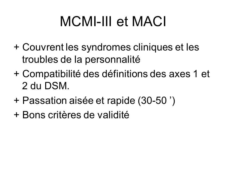 MCMI-III et MACI + Couvrent les syndromes cliniques et les troubles de la personnalité. + Compatibilité des définitions des axes 1 et 2 du DSM.