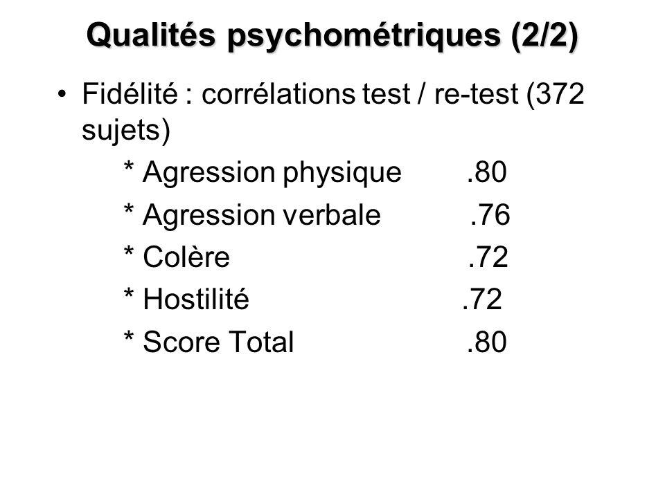 Qualités psychométriques (2/2)