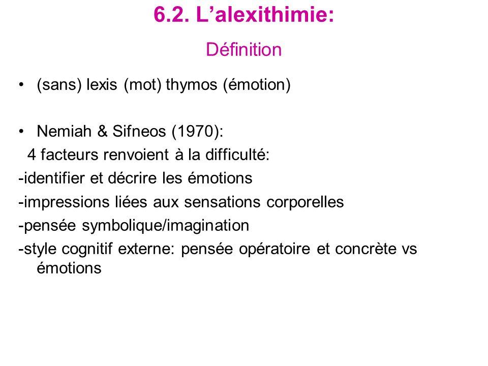 6.2. L'alexithimie: Définition