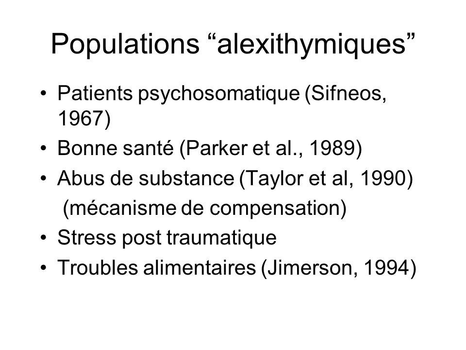 Populations alexithymiques