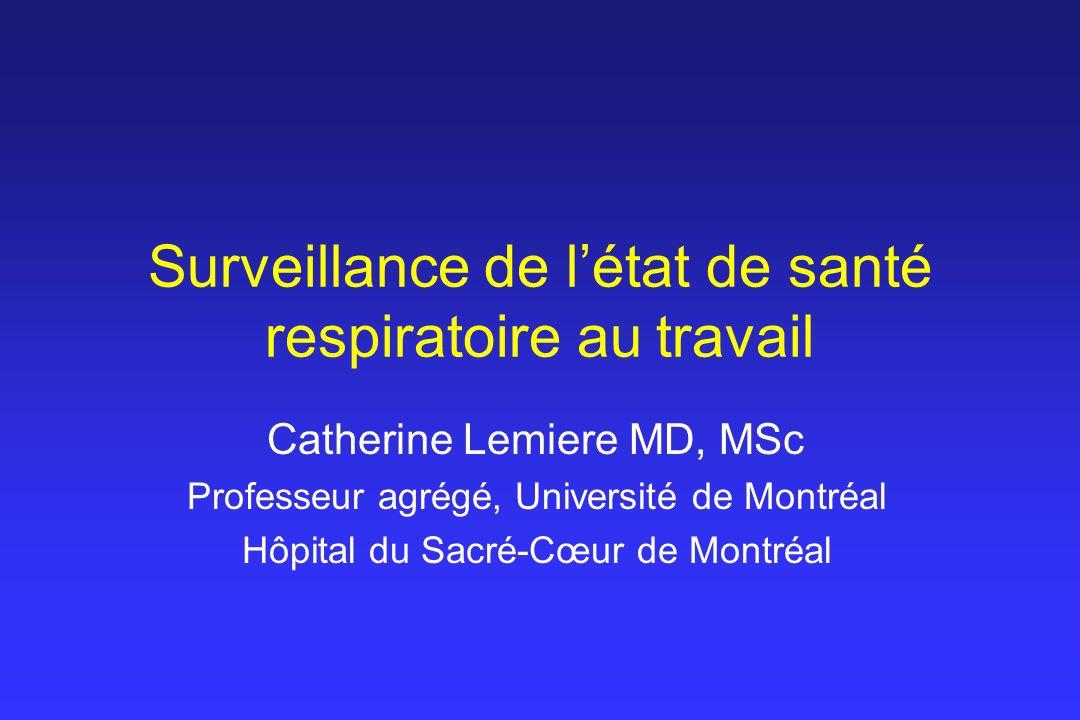 Surveillance de l'état de santé respiratoire au travail