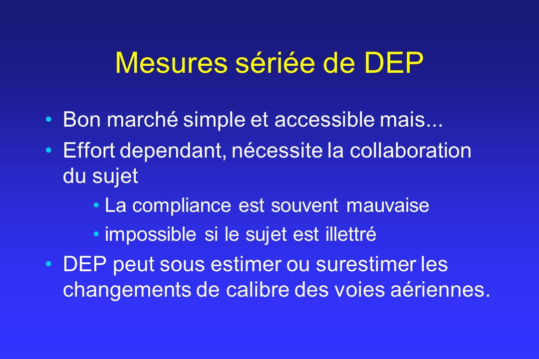 Mesures sériée de DEP Bon marché simple et accessible mais...