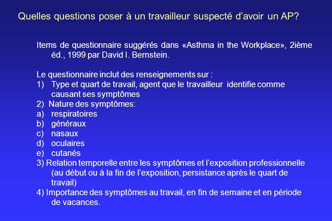 Quelles questions poser à un travailleur suspecté d'avoir un AP