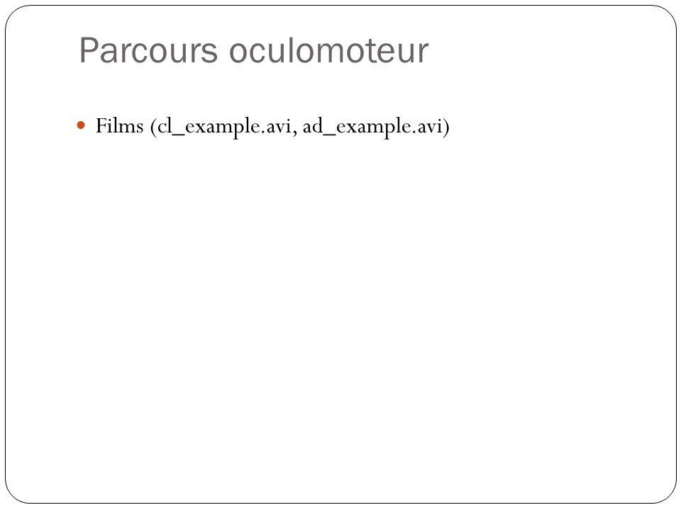 Parcours oculomoteur Films (cl_example.avi, ad_example.avi)