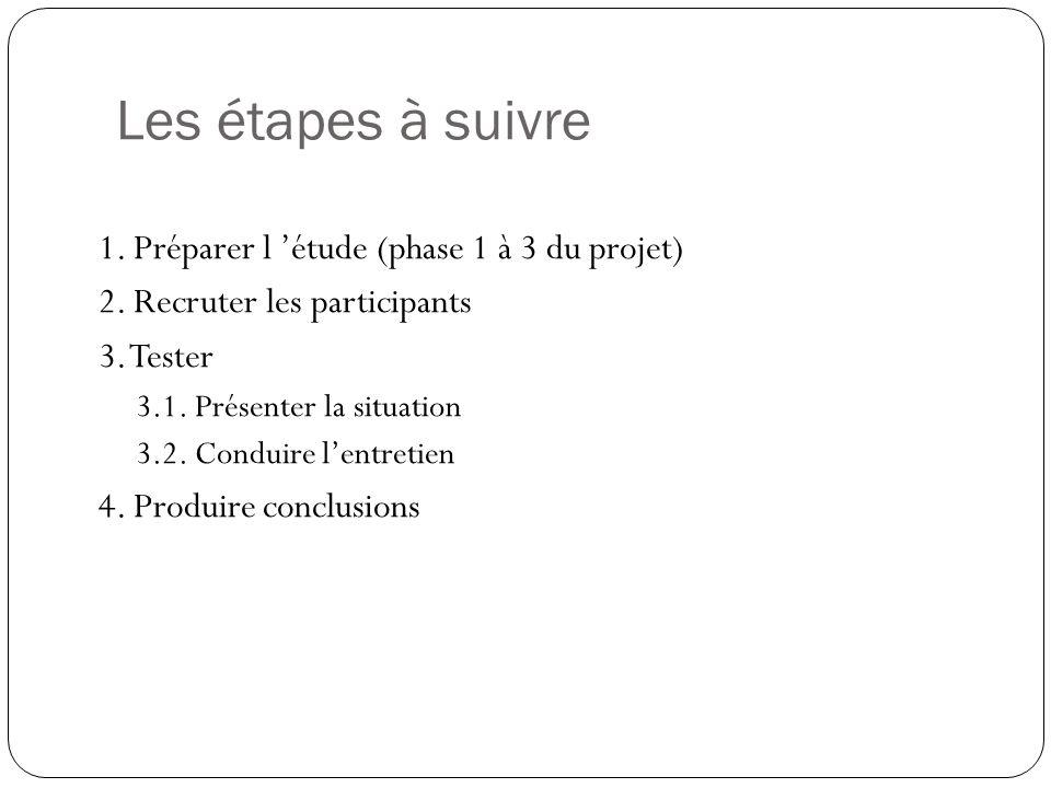 Les étapes à suivre 1. Préparer l 'étude (phase 1 à 3 du projet)
