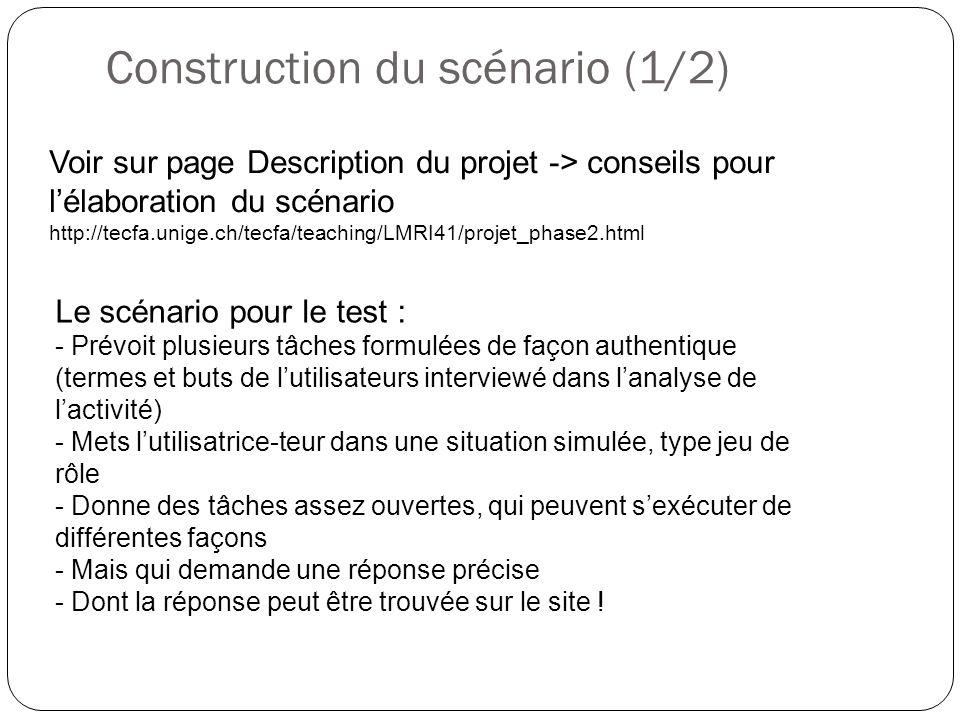 Construction du scénario (1/2)
