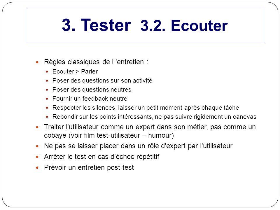 3. Tester 3.2. Ecouter Règles classiques de l 'entretien :