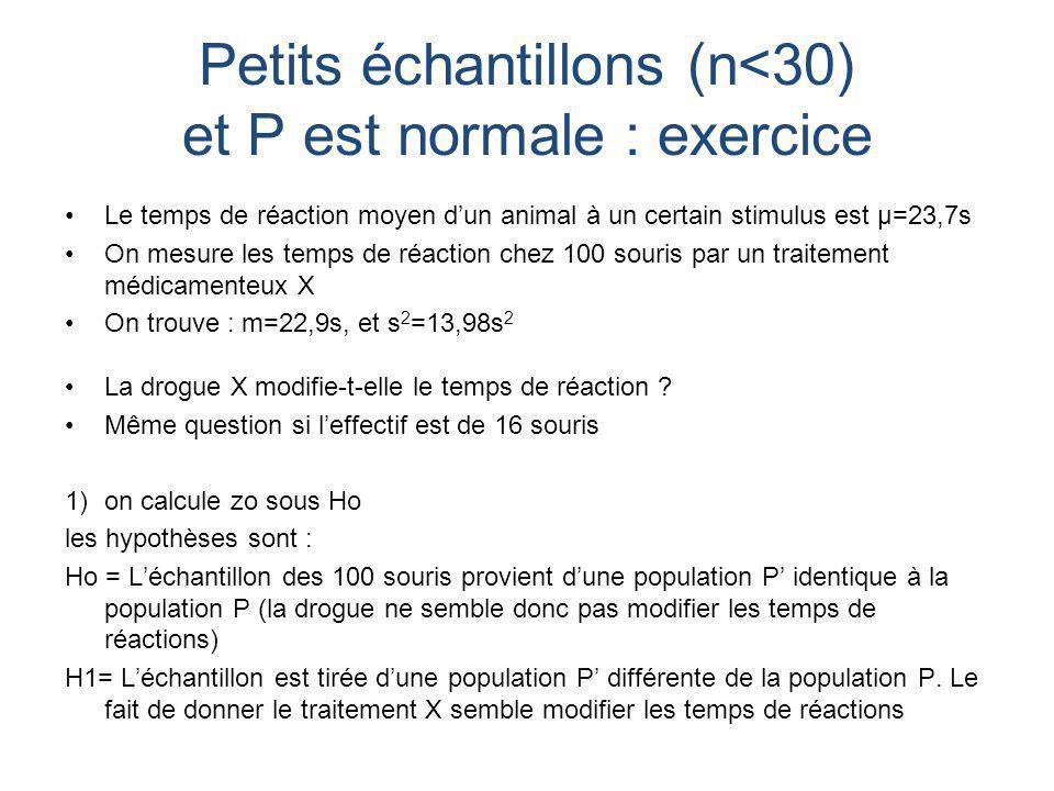 Petits échantillons (n<30) et P est normale : exercice