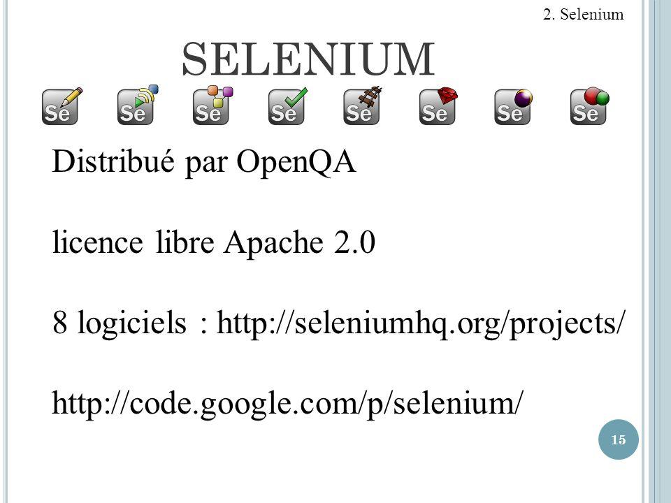 SELENIUM Distribué par OpenQA licence libre Apache 2.0
