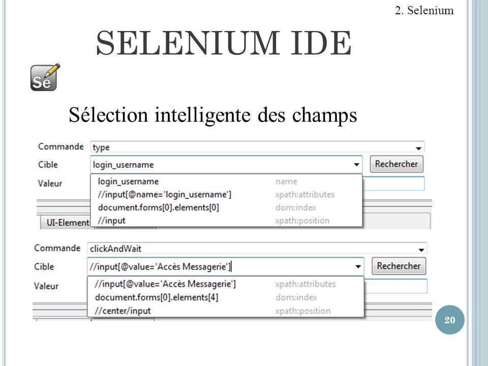 2. Selenium SELENIUM IDE Sélection intelligente des champs