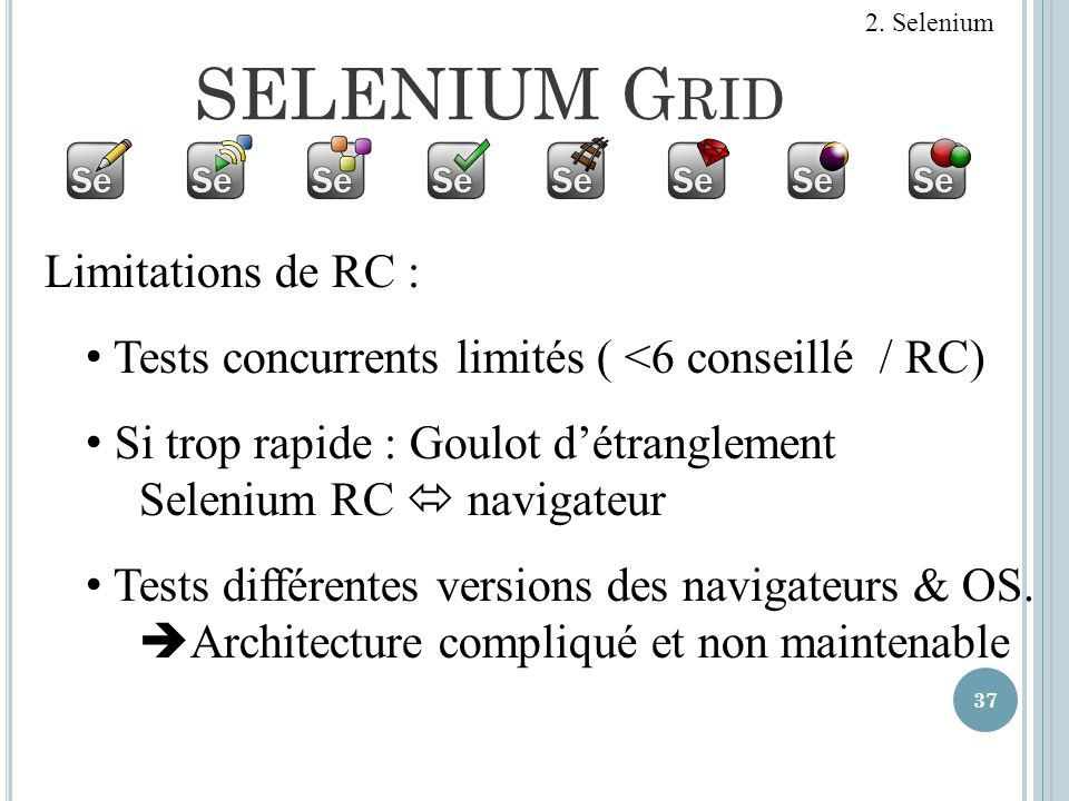 SELENIUM Grid Limitations de RC :