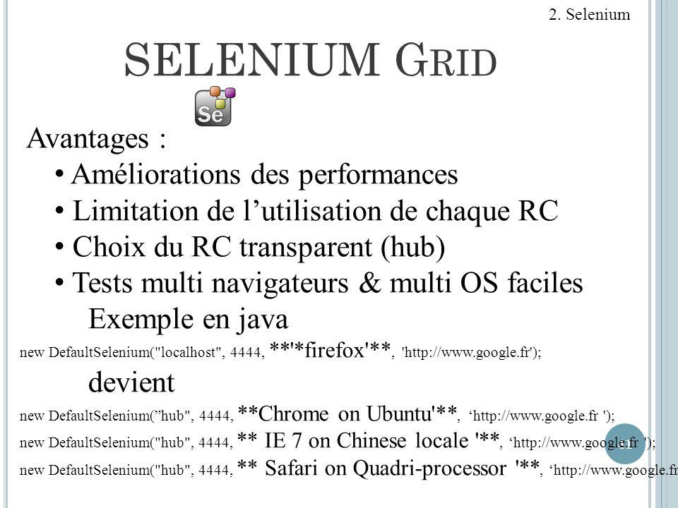 SELENIUM Grid Avantages : Améliorations des performances