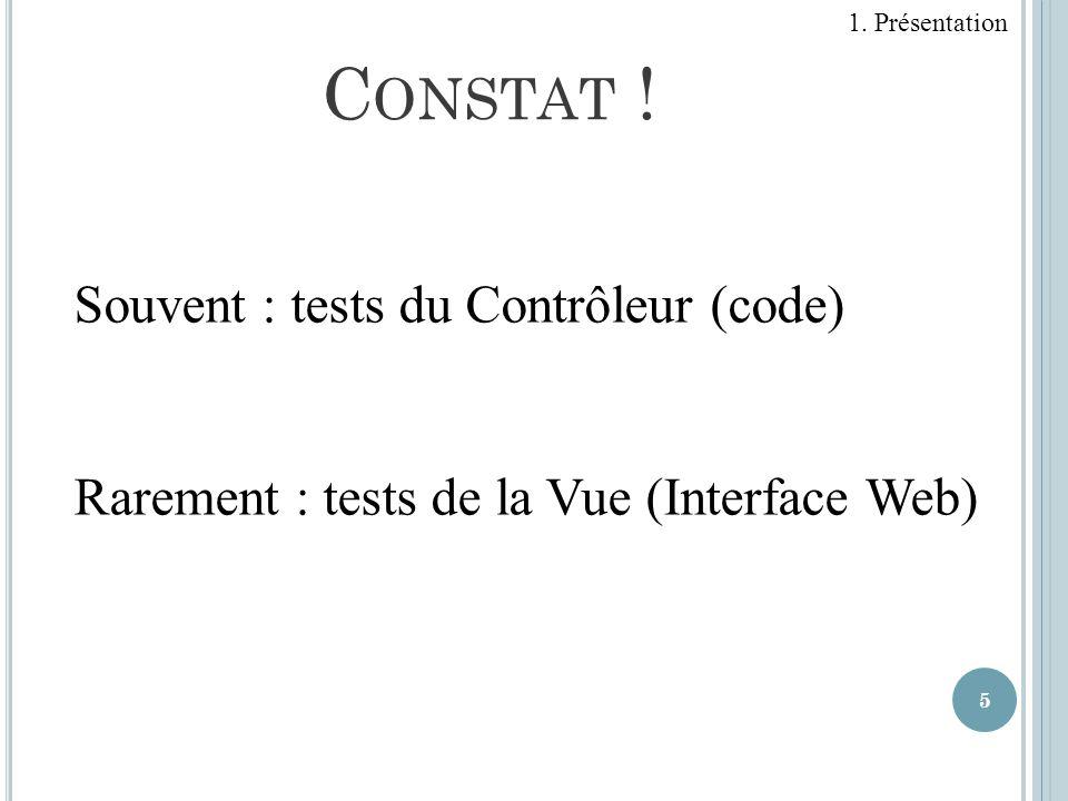 Constat ! Souvent : tests du Contrôleur (code)