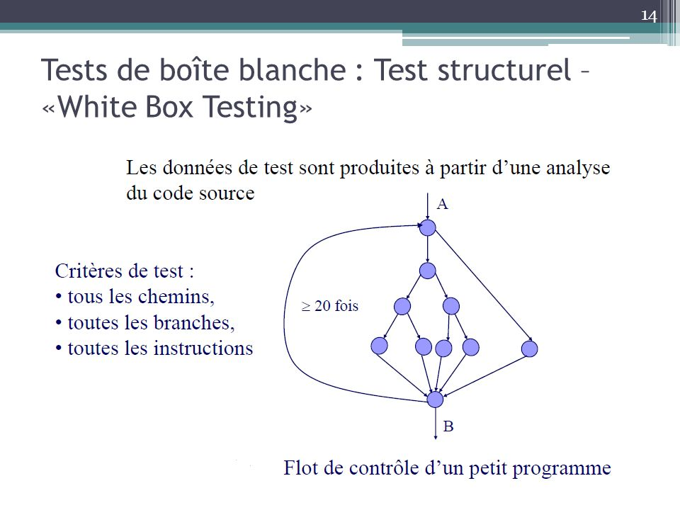 Tests de boîte blanche : Test structurel –«White Box Testing»