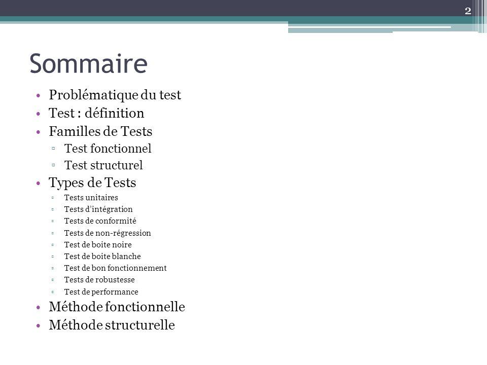 Sommaire Problématique du test Test : définition Familles de Tests