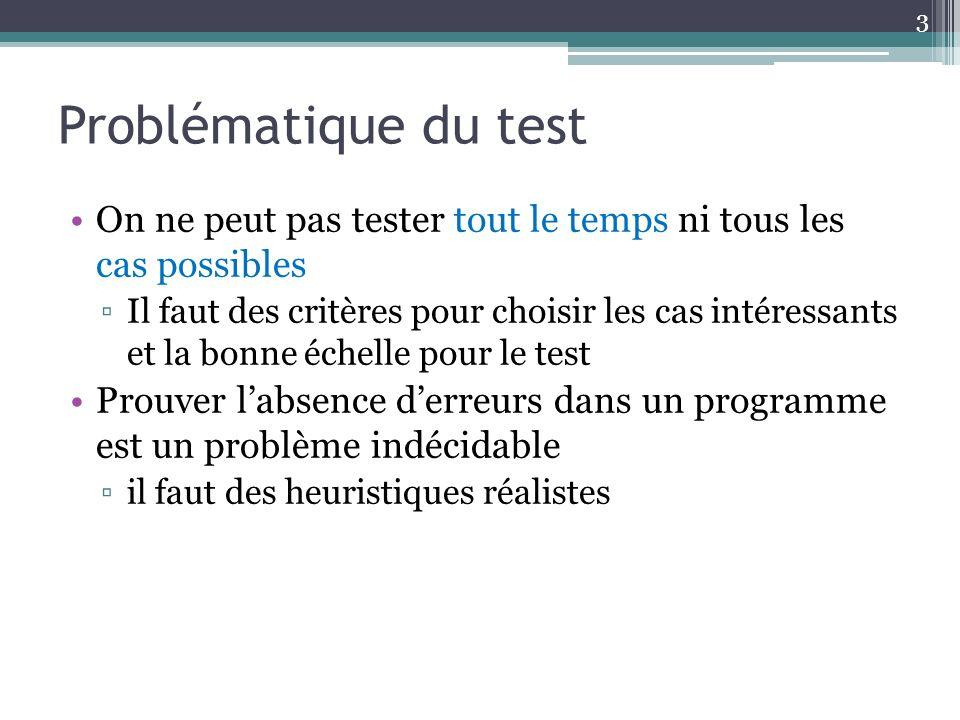Problématique du test On ne peut pas tester tout le temps ni tous les cas possibles.