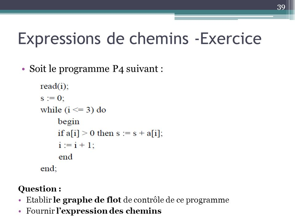 Expressions de chemins -Exercice