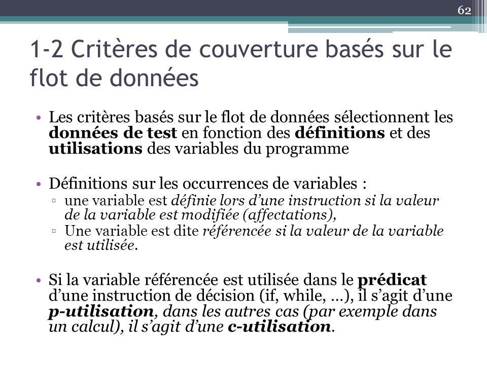 1-2 Critères de couverture basés sur le flot de données