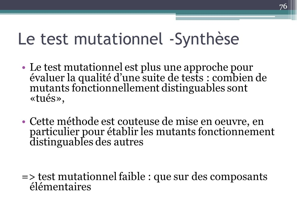 Le test mutationnel -Synthèse