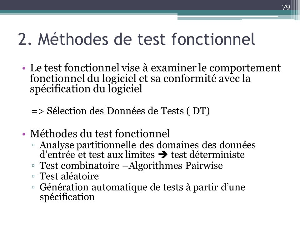 2. Méthodes de test fonctionnel