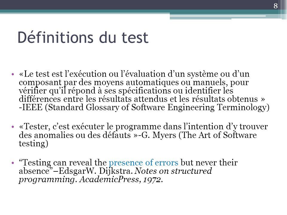 Définitions du test