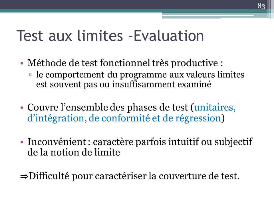 Test aux limites -Evaluation