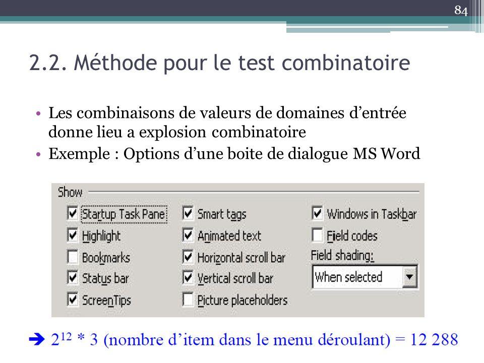 2.2. Méthode pour le test combinatoire