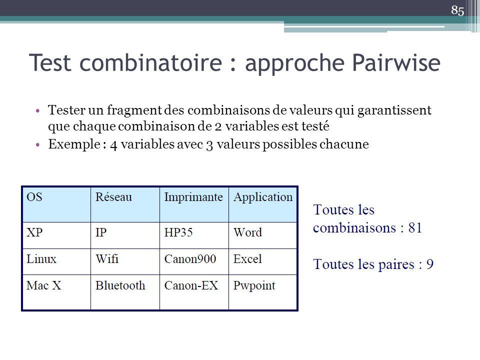 Test combinatoire : approche Pairwise