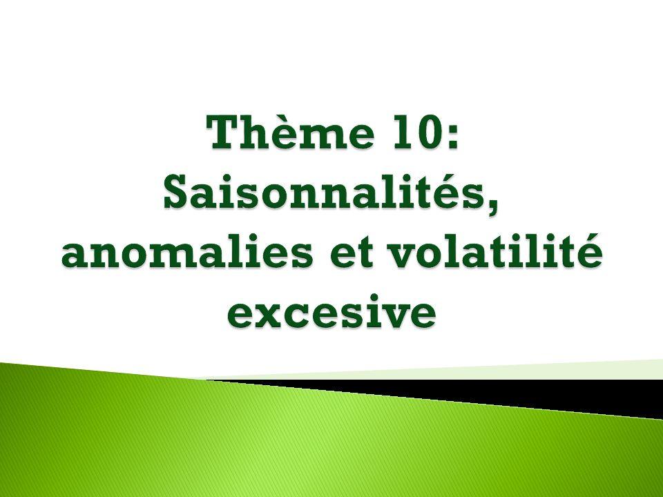Thème 10: Saisonnalités, anomalies et volatilité excesive