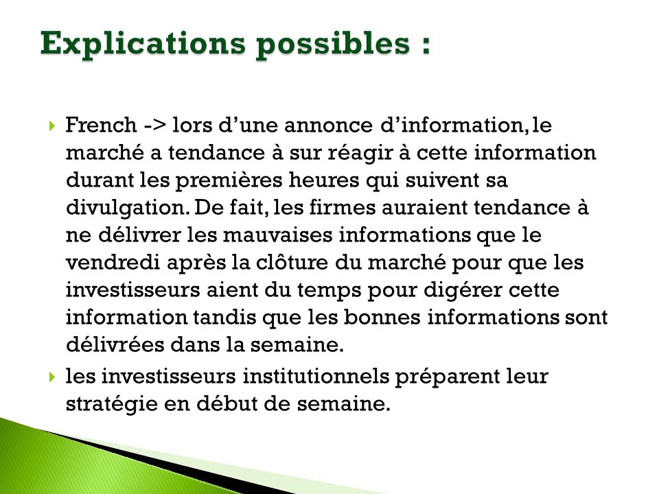 Explications possibles :