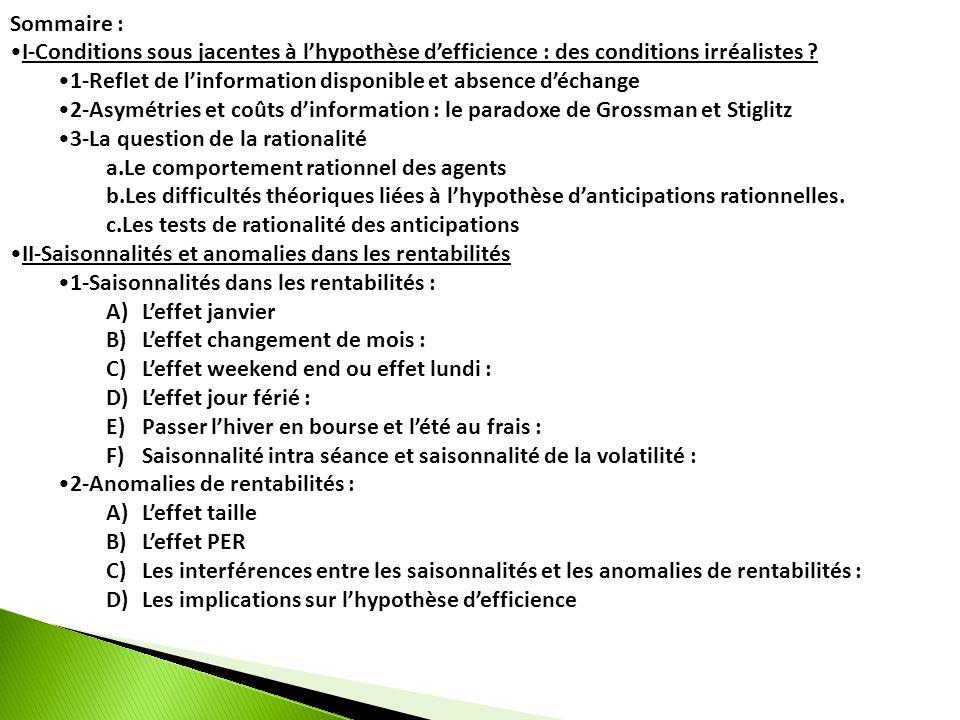 Sommaire : I-Conditions sous jacentes à l'hypothèse d'efficience : des conditions irréalistes