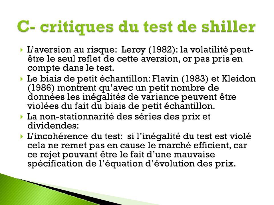 C- critiques du test de shiller