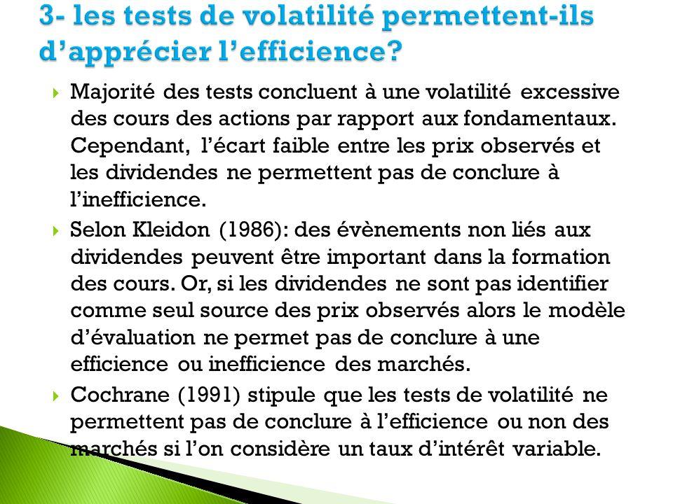 3- les tests de volatilité permettent-ils d'apprécier l'efficience