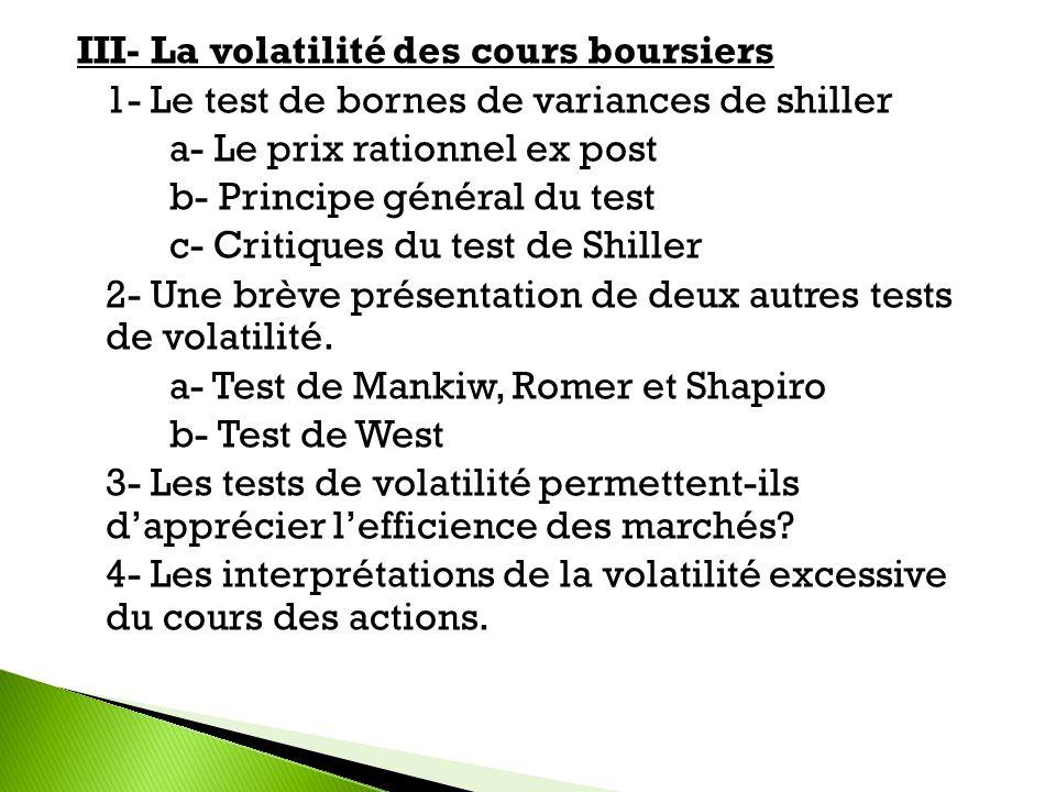 III- La volatilité des cours boursiers 1- Le test de bornes de variances de shiller a- Le prix rationnel ex post b- Principe général du test c- Critiques du test de Shiller 2- Une brève présentation de deux autres tests de volatilité.