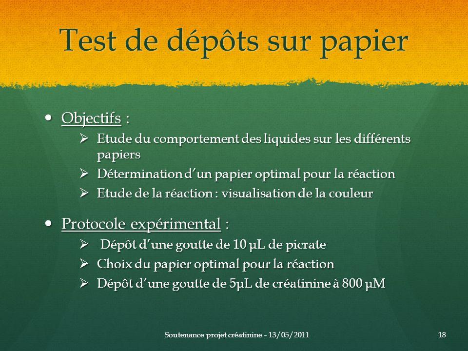 Test de dépôts sur papier