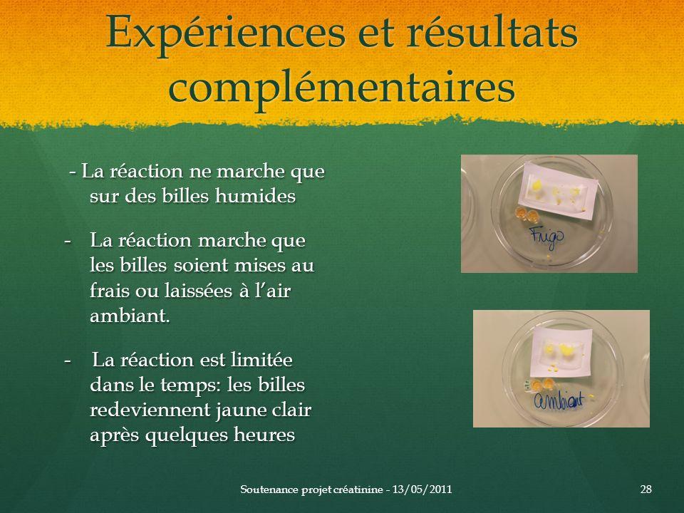 Expériences et résultats complémentaires