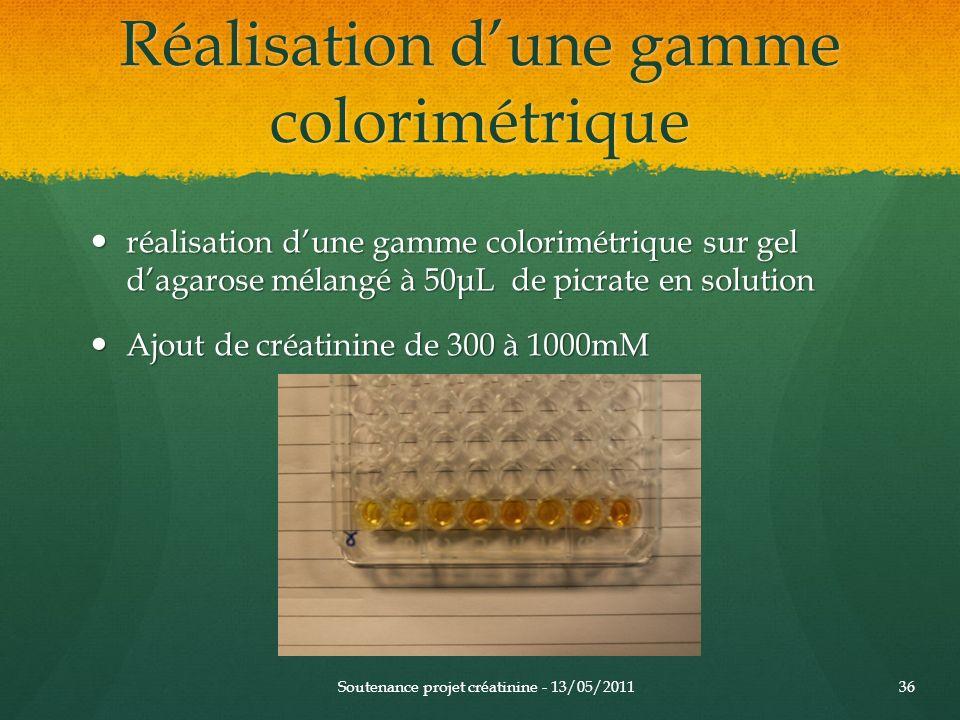 Réalisation d'une gamme colorimétrique