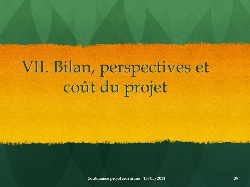 VII. Bilan, perspectives et coût du projet