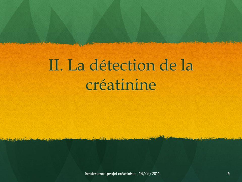 II. La détection de la créatinine