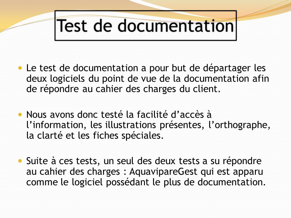 Test de documentation
