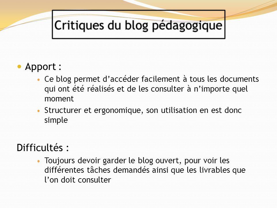 Critiques du blog pédagogique