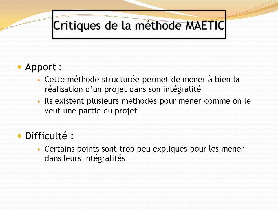 Critiques de la méthode MAETIC