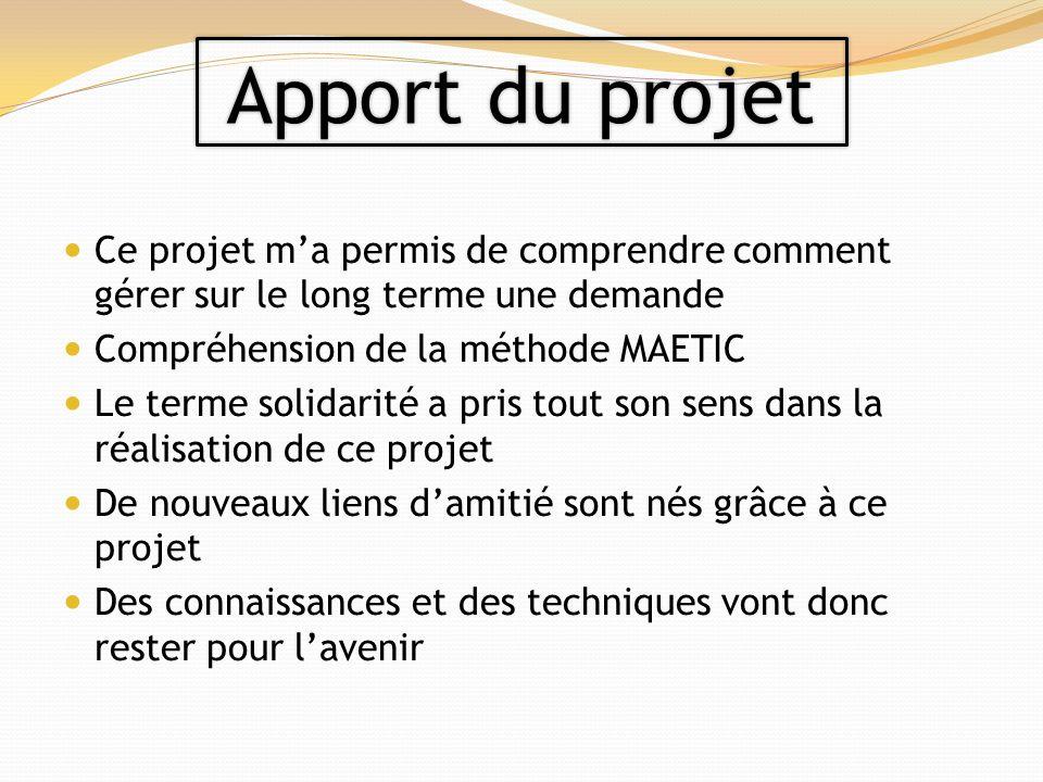Apport du projet Ce projet m'a permis de comprendre comment gérer sur le long terme une demande. Compréhension de la méthode MAETIC.