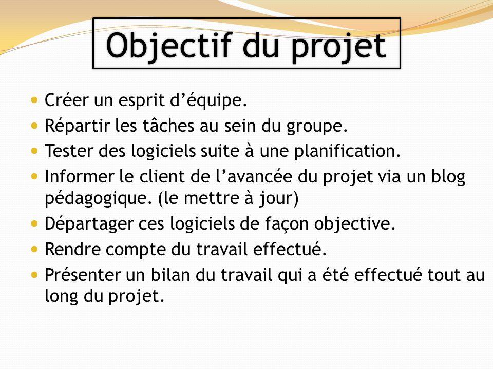 Objectif du projet Créer un esprit d'équipe.