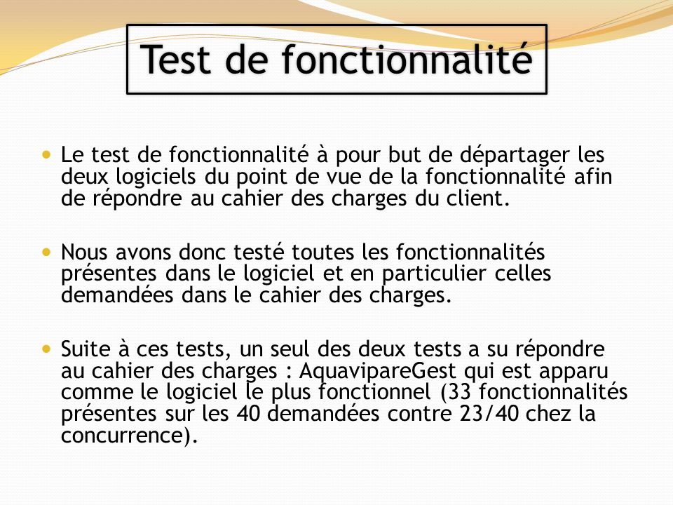 Test de fonctionnalité