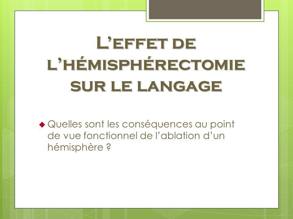 L'effet de l'hémisphérectomie sur le langage