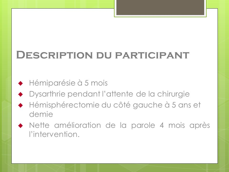 Description du participant
