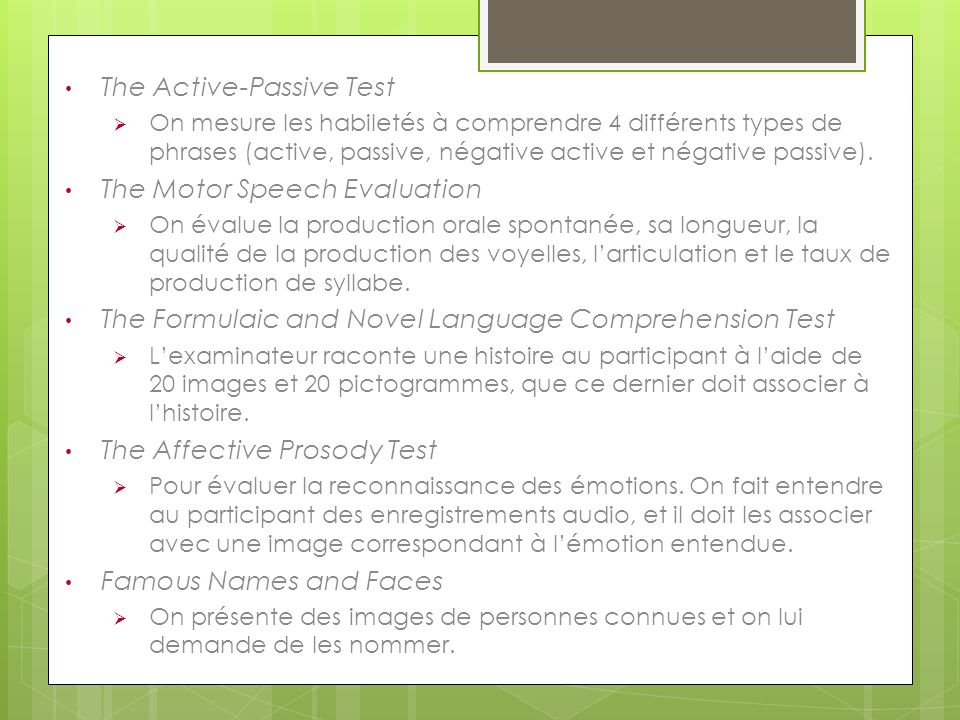 The Active-Passive Test
