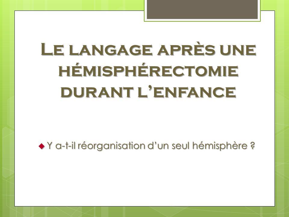 Le langage après une hémisphérectomie durant l'enfance