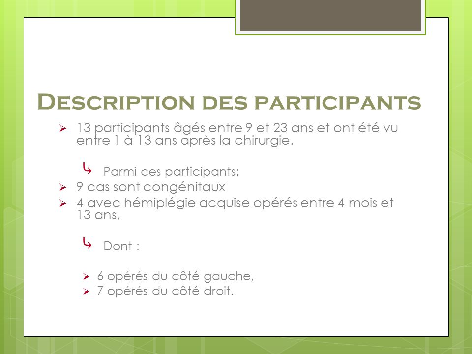 Description des participants